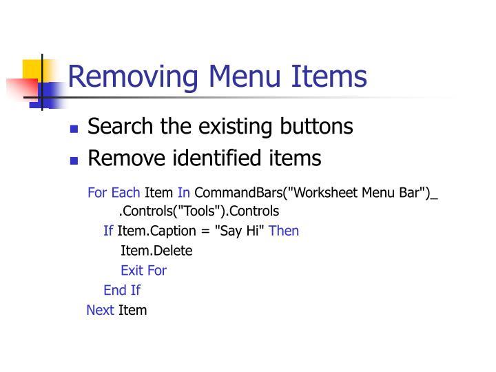 Removing Menu Items