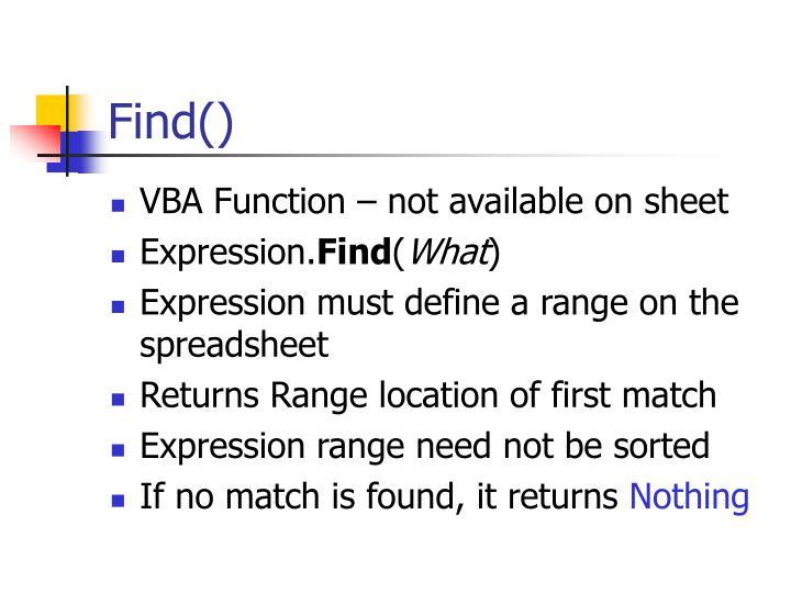 Find()