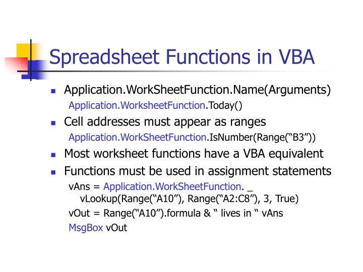 Spreadsheet Functions in VBA