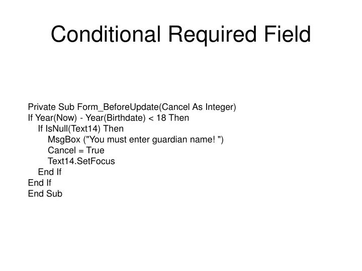 Conditional Required Field
