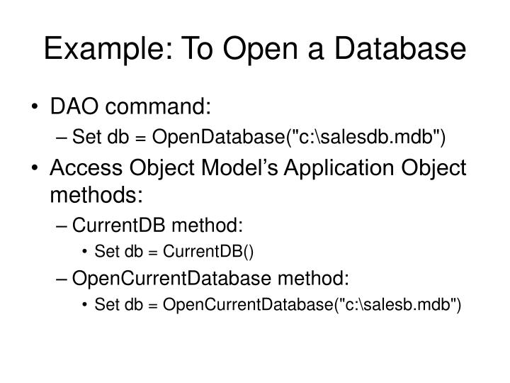 Example to open a database