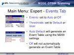 main menu expert events tab