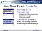 main menu expert events tab1
