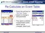 re calculate an event table