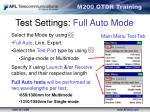 test settings full auto mode