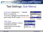 test settings sub menus