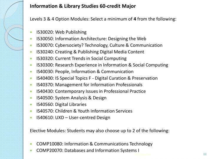 Information & Library Studies 60-credit Major
