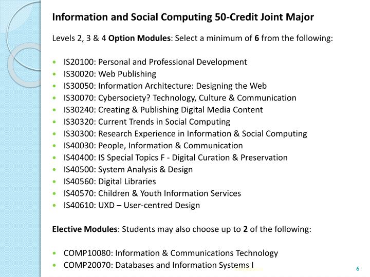 Information and Social Computing 50-Credit Joint Major