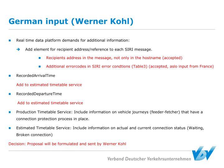 German input (Werner Kohl)