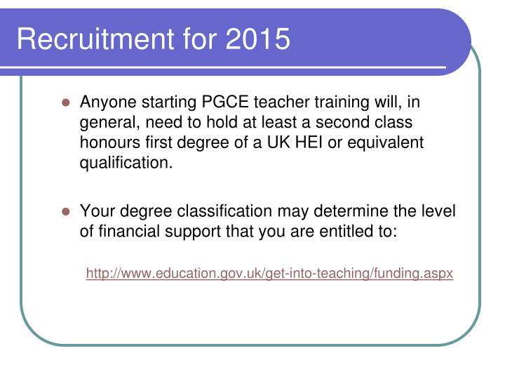 Recruitment for 2015