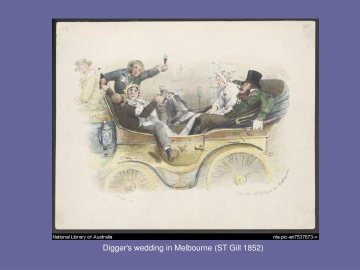 Digger's wedding in Melbourne (ST Gill 1852)