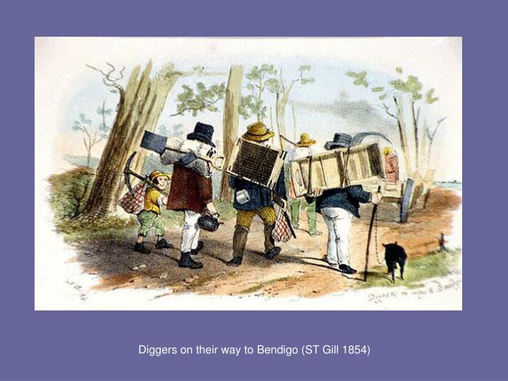 Diggers on their way to Bendigo (ST Gill 1854)