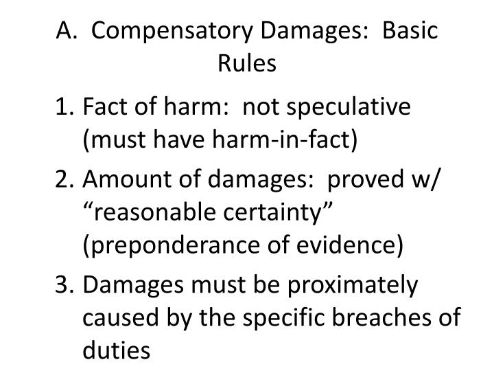 A compensatory damages basic rules