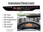 instrument panel not