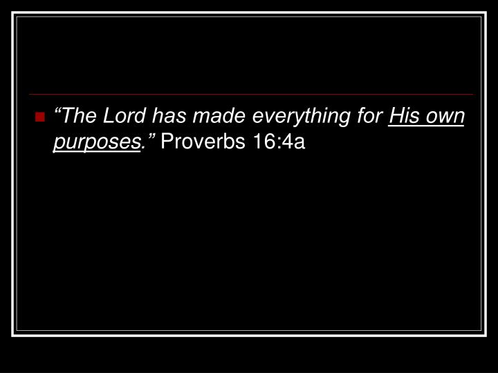 """The Lord has made everything for"