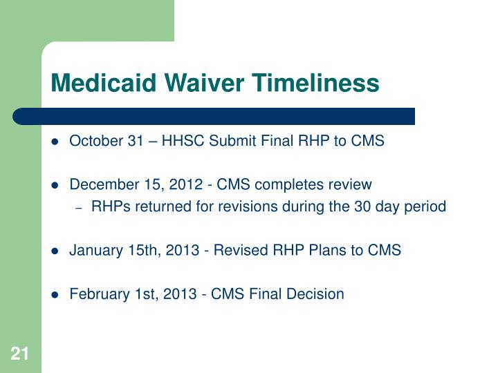Medicaid Waiver Timeliness