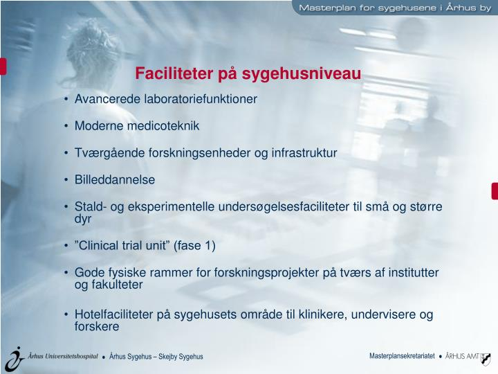 Faciliteter på sygehusniveau