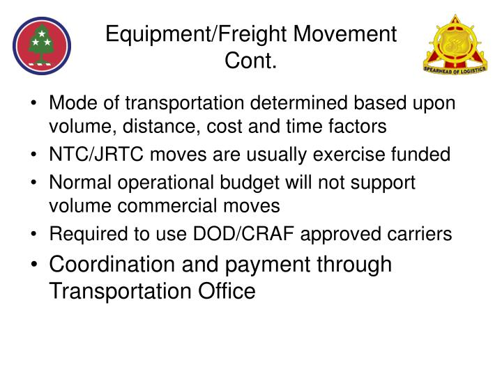 Equipment/Freight Movement