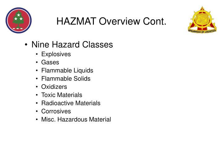 HAZMAT Overview Cont.
