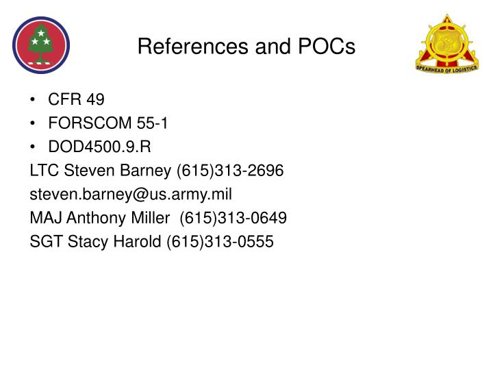 References and POCs