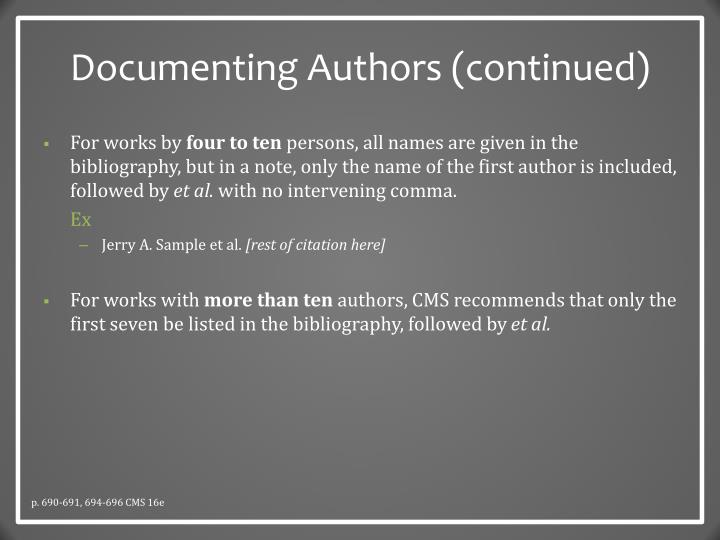 Documenting Authors (continued)