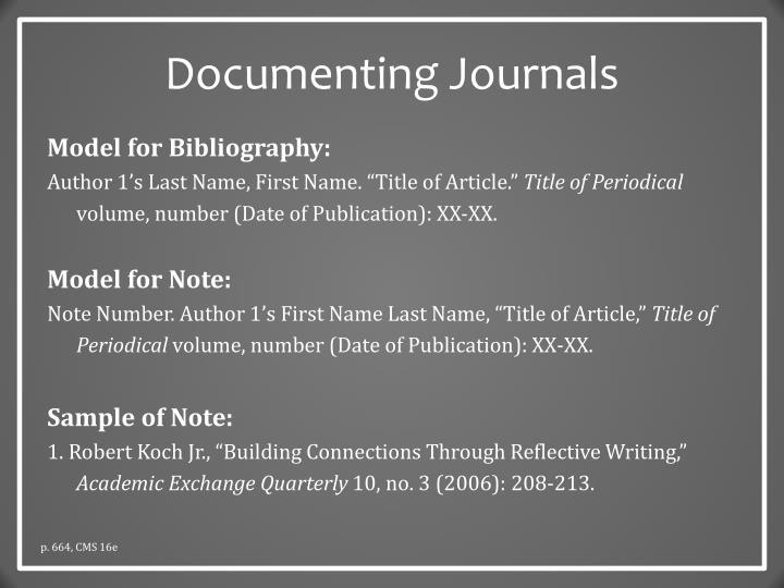 Documenting Journals