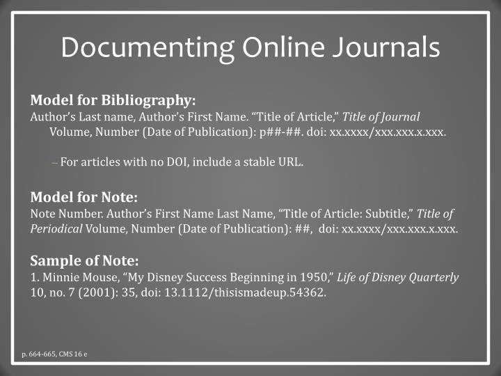 Documenting Online Journals