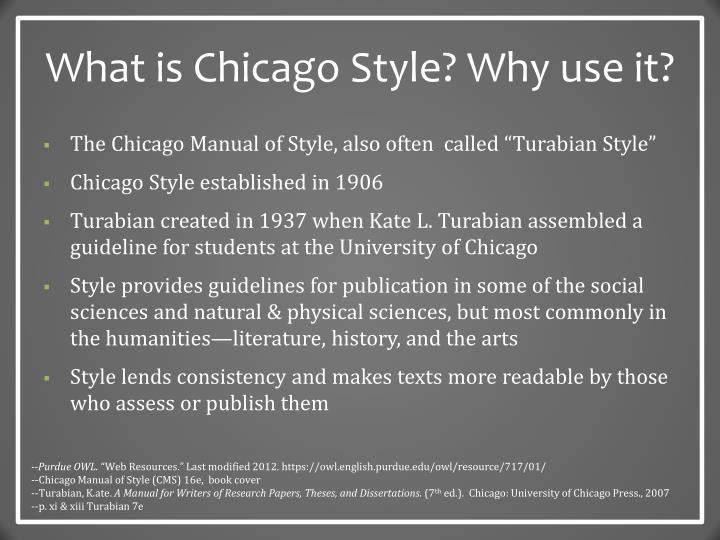 What is chicago style why use it