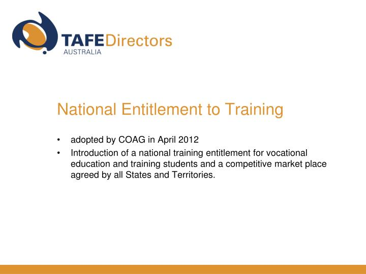 National Entitlement to Training