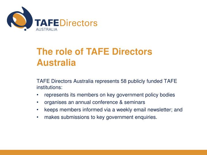 The role of TAFE Directors Australia