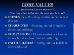core values selected by church members feelings that influence the way you believe
