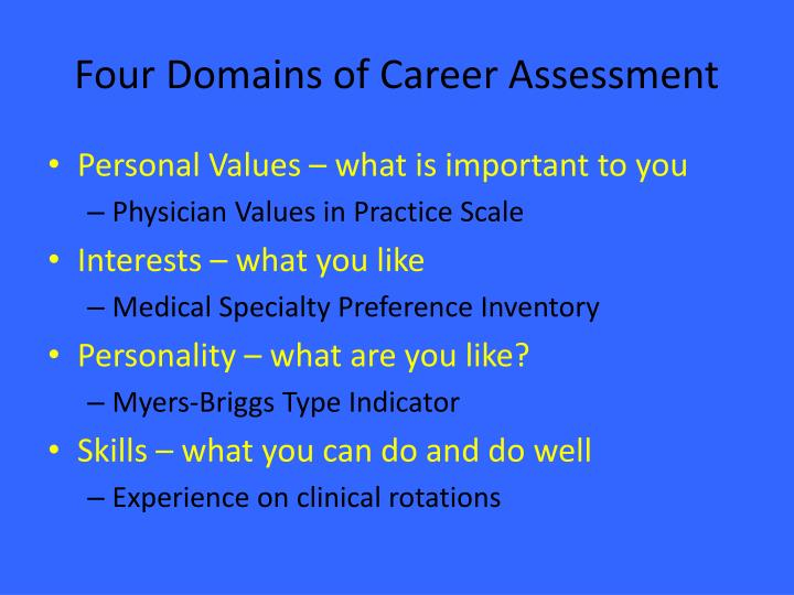 Four Domains of Career Assessment