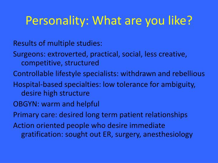 Personality: What are you like?
