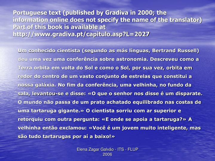 Portuguese text (published by Gradiva in 2000; the information online does not specify the name of the translator)