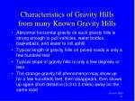 characteristics of gravity hills from many known gravity hills