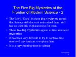 the five big mysteries at the frontier of modern science 2