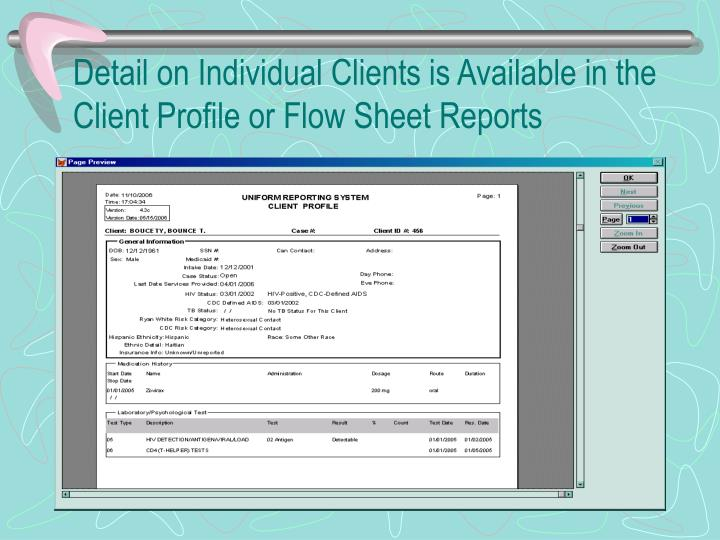 Detail on Individual Clients is Available in the Client Profile or Flow Sheet Reports