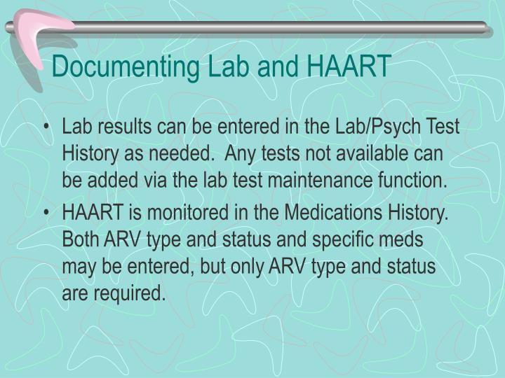 Documenting Lab and HAART