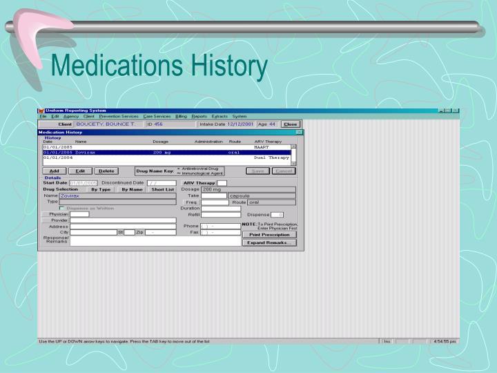 Medications History