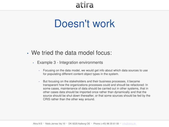 We tried the data model focus: