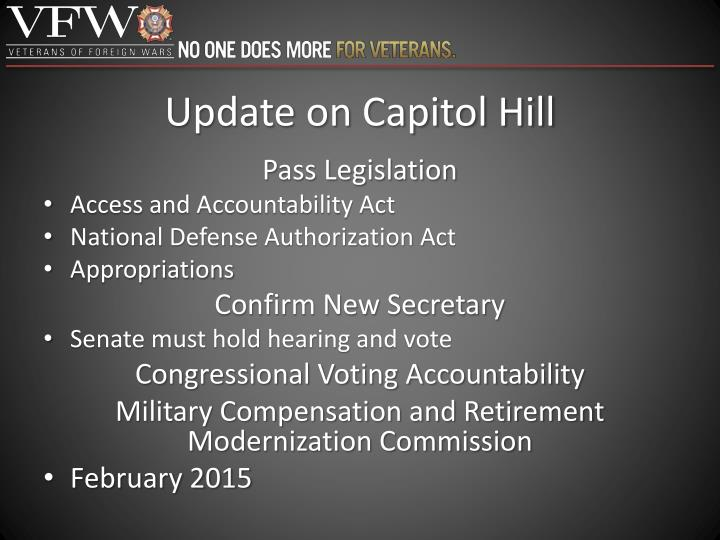 Update on Capitol Hill