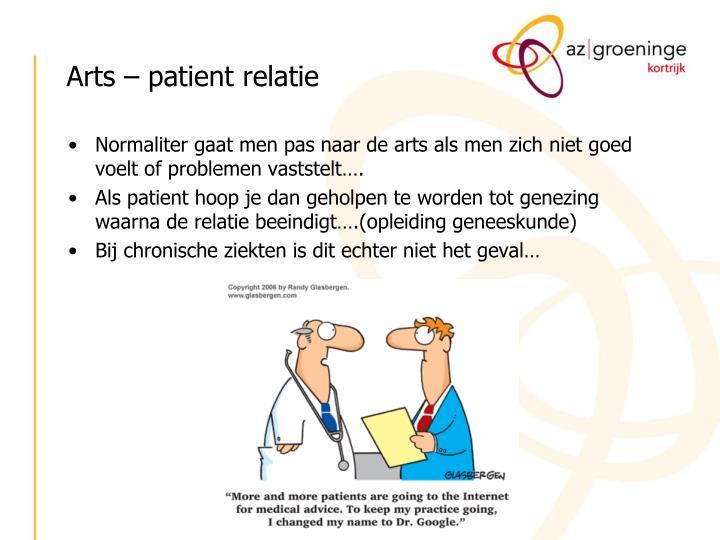 Arts – patient relatie