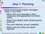 step 1 planning