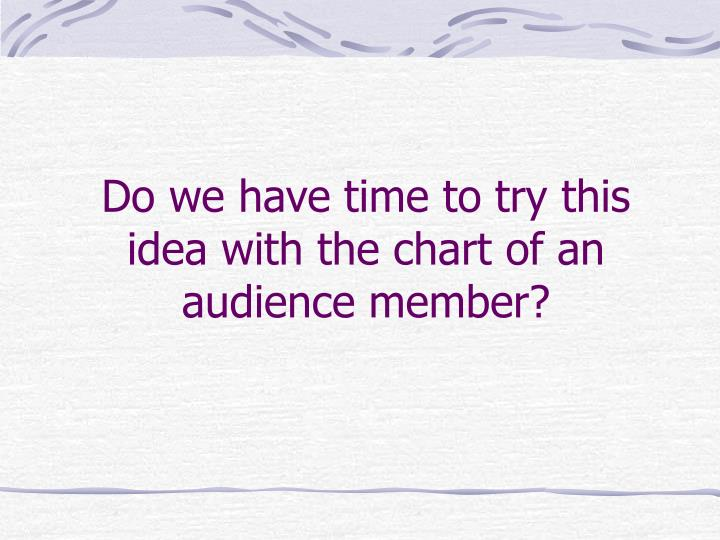 Do we have time to try this idea with the chart of an audience member?