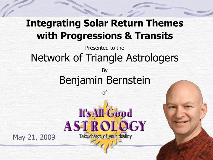 Integrating Solar Return Themes with Progressions & Transits