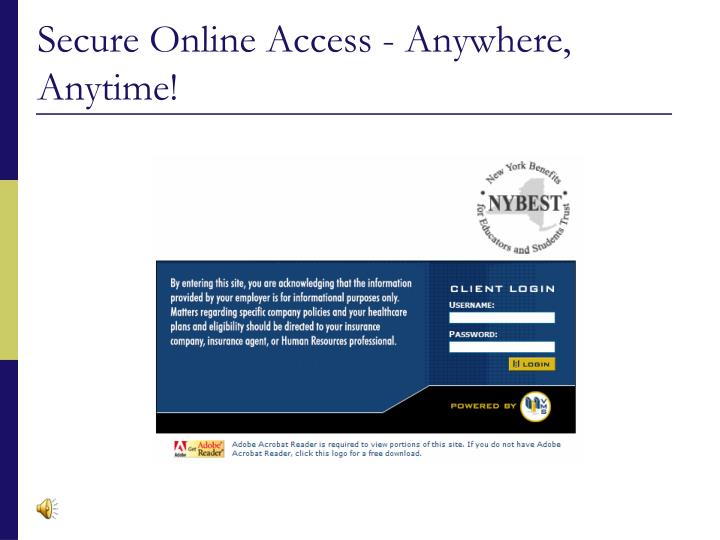 Secure online access anywhere anytime