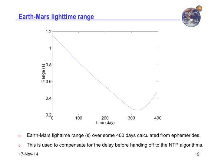 Earth-Mars lighttime range