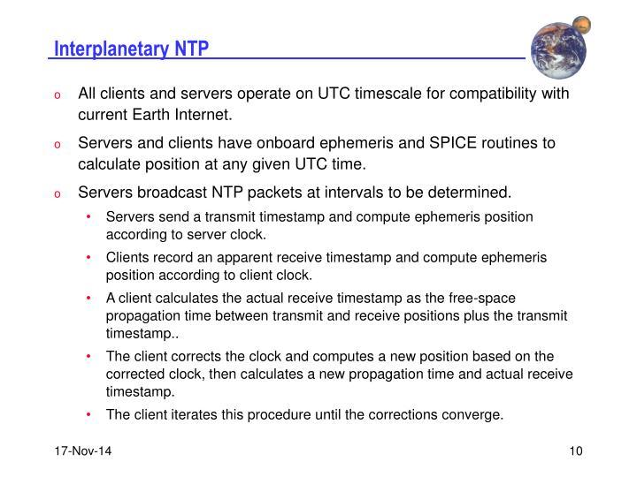 Interplanetary NTP
