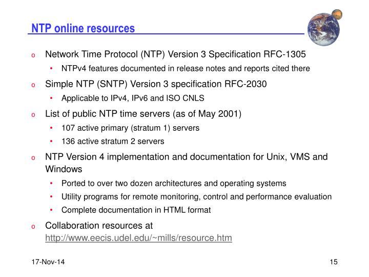 NTP online resources