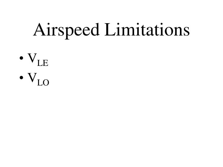 Airspeed Limitations
